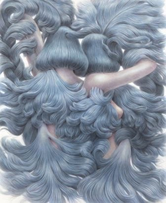 Two blue haired beauties turn their faces away from the viewer in this pencil drawing by Winnie Truong