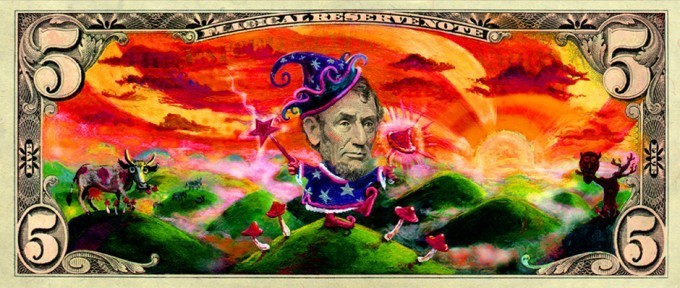 Amsterdam artist Kamiel Proost turns an American five dollar bill into an art work by painting over it and turning Abraham Lincoln into a colorful wizard