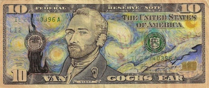 Artist James Charles has put painting master Vincent van Gogh onto this 10 dollar bill
