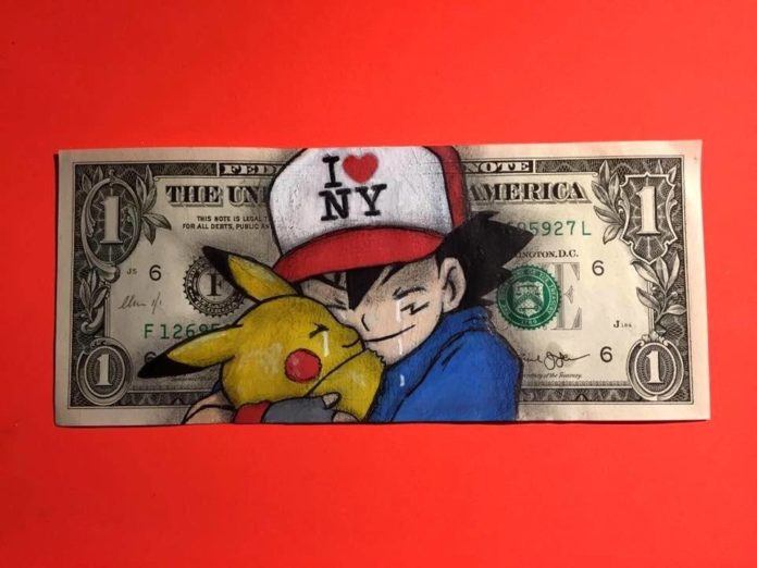 British artist Chris Boyle painted Pikachu and Ash from the anime Dragonball Z on this dollar bill