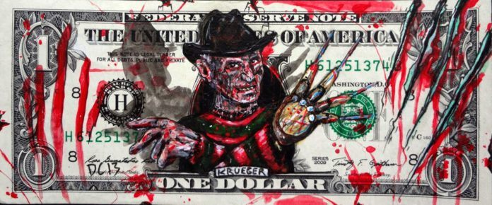 Freddy Krueger emerges from this one dollar bill thanks to the art skills of Donovan Clark
