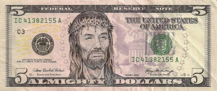 Instead of Abe Lincoln, this American 5 dollar bill has a picture of Jesus Christ