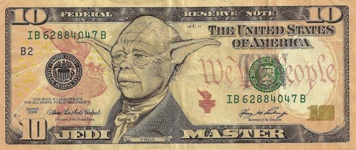 Jedi Master Yoda is the famous head on this American 10 dollar note by James Charles