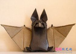 Folding tutorial for a sitting origami bat that is a funny and freaky halloween decoration