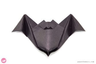 make your own black paper origami bat for halloween party decor