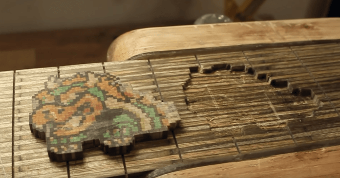The Bowser character inlay on the fingerboard of Cranmer's Mario Bros guitar is so incredibly delicate and precisely made
