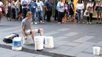 Watch the Pitt Street Bucket Drummer show off his Mad Speed Skills